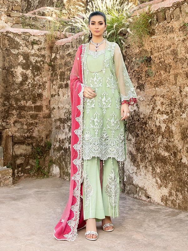 Imrozia Poshak E Khas DN 5009 : Embroidered organza with handmade embellishment by Serene Clothing Imrozia Women Brand Pakistani Designer Dresses are now available at Lebaasonline ! Pakistani Clothes UK and fashion are a central part of Pakistani culture and Pakistani Weddings Buy Imrozia Poshak E Khas at LebaasOnline.