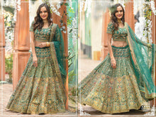 Load image into Gallery viewer, Designer Silk Lehenga in Green