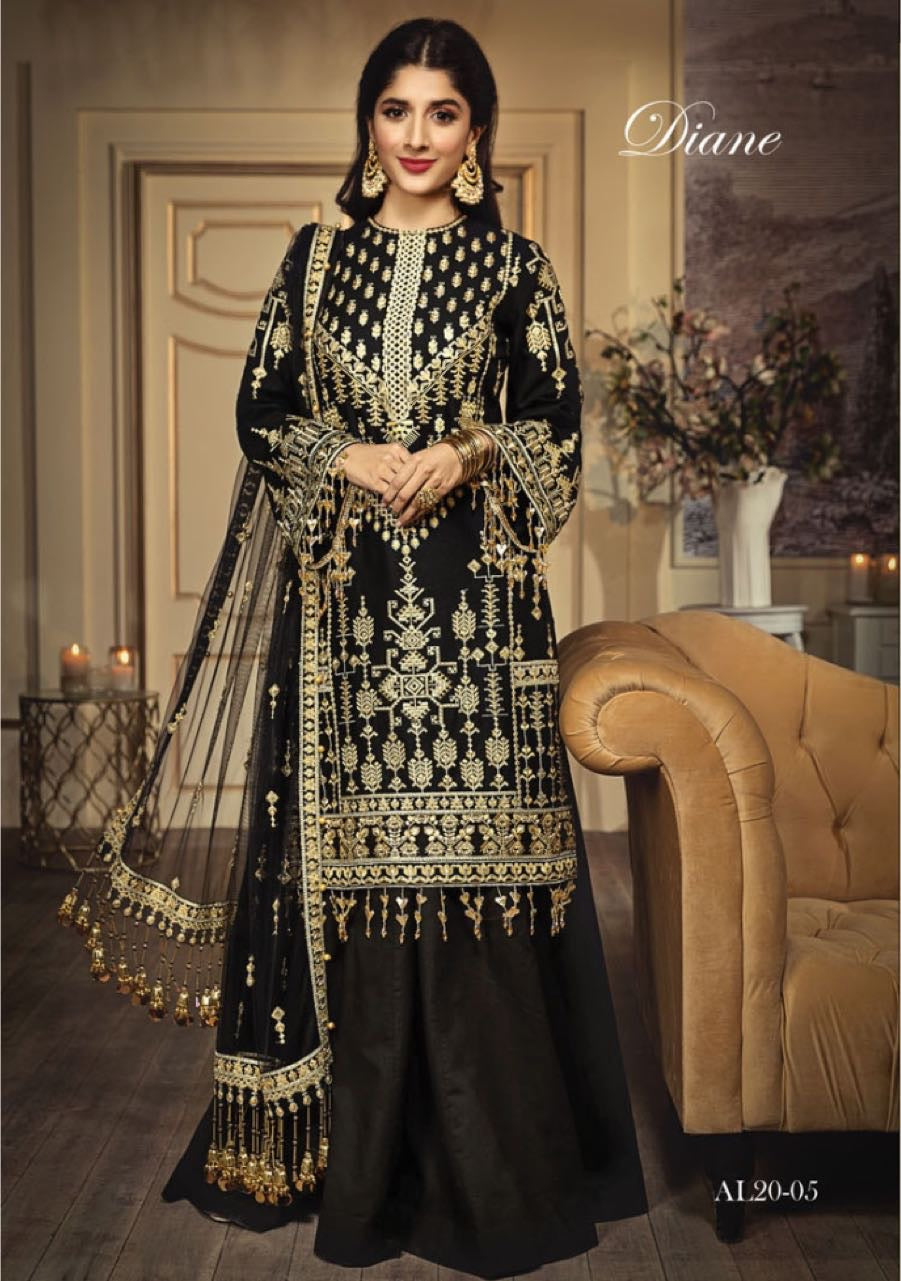 Anaya Luxury Lawn 2020 Suit embroidered black