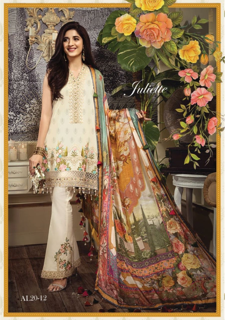 Anaya Luxury Lawn 2020 Suit white and tropical
