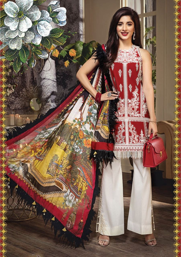 Anaya Luxury Lawn 2020 Suit red and tropical