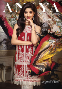 Anaya Luxury Lawn 2020 Suit embroidered red