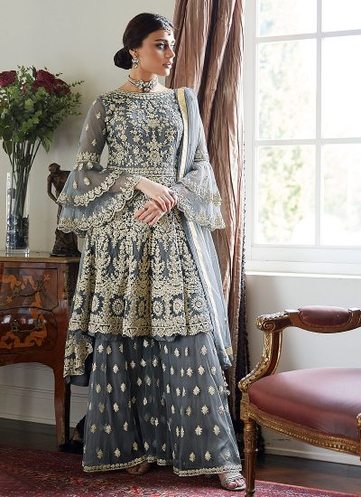 Grey Sharara Suit For Wedding & Party by Aashirwad - LebaasOnline