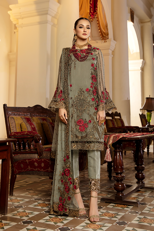 Imrozia Premium-  Regence 2021, I-126 VOEUX, Grey : Buy Imrozia Premium Pakistani clothing brand at our Online store. Lebaasonline Has all the latest Women`s Clothing Collection of Salwar Kameez, Indian & Pakistani  Bridal and Wedding Party attire Collection. Shop Imrozia ORIGINAL DESIGNER DRESSES IN THE UK ONLINE