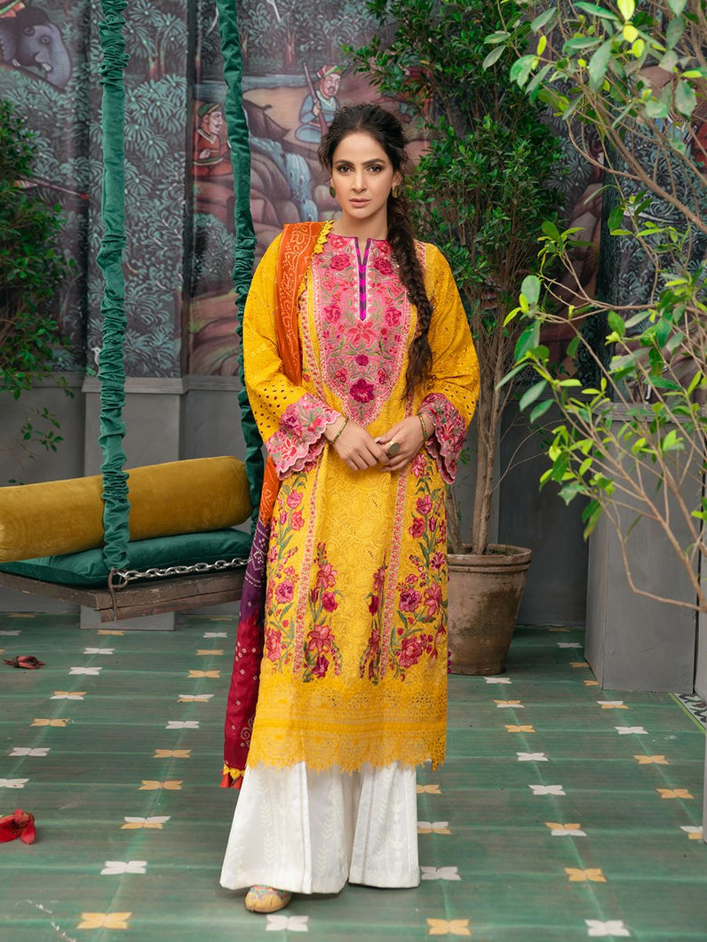 MARYAM HUSSAIN Luxury Lawn '21 Collection -KESAR Yellow dress most popular Pakistani outfits for evening wear and winter season in the UK, USA and France. These 3 pc unstitched, stitched & READY MADE Indian & Pakistani Suits are best for Eid outfits. Shop Salwar Kameez by Maryam Hussain on SALE price at Lebaasonline!