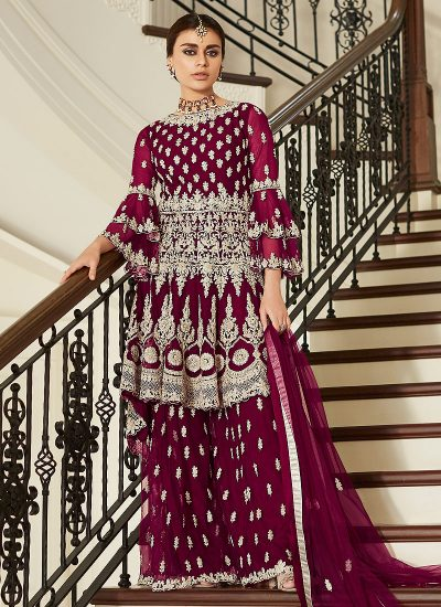 Magenta Sharara Suit For Wedding & Party by Aashirwad - LebaasOnline