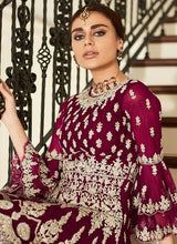 Load image into Gallery viewer, Magenta Sharara Suit For Wedding & Party by Aashirwad - LebaasOnline