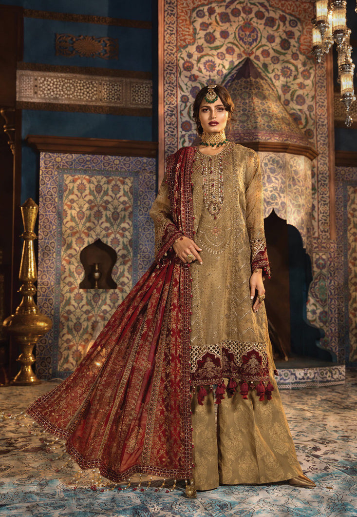 Maria B Wedding Mbroidered Collection 2020 Ruby Gold - LebaasOnline