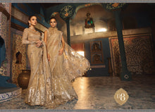 Load image into Gallery viewer, Maria B Wedding Mbroidered Saree Collection 2020 Silver Sandstone - LebaasOnline
