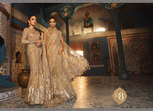 Maria B Wedding Mbroidered Saree Collection 2020 Silver Sandstone - LebaasOnline