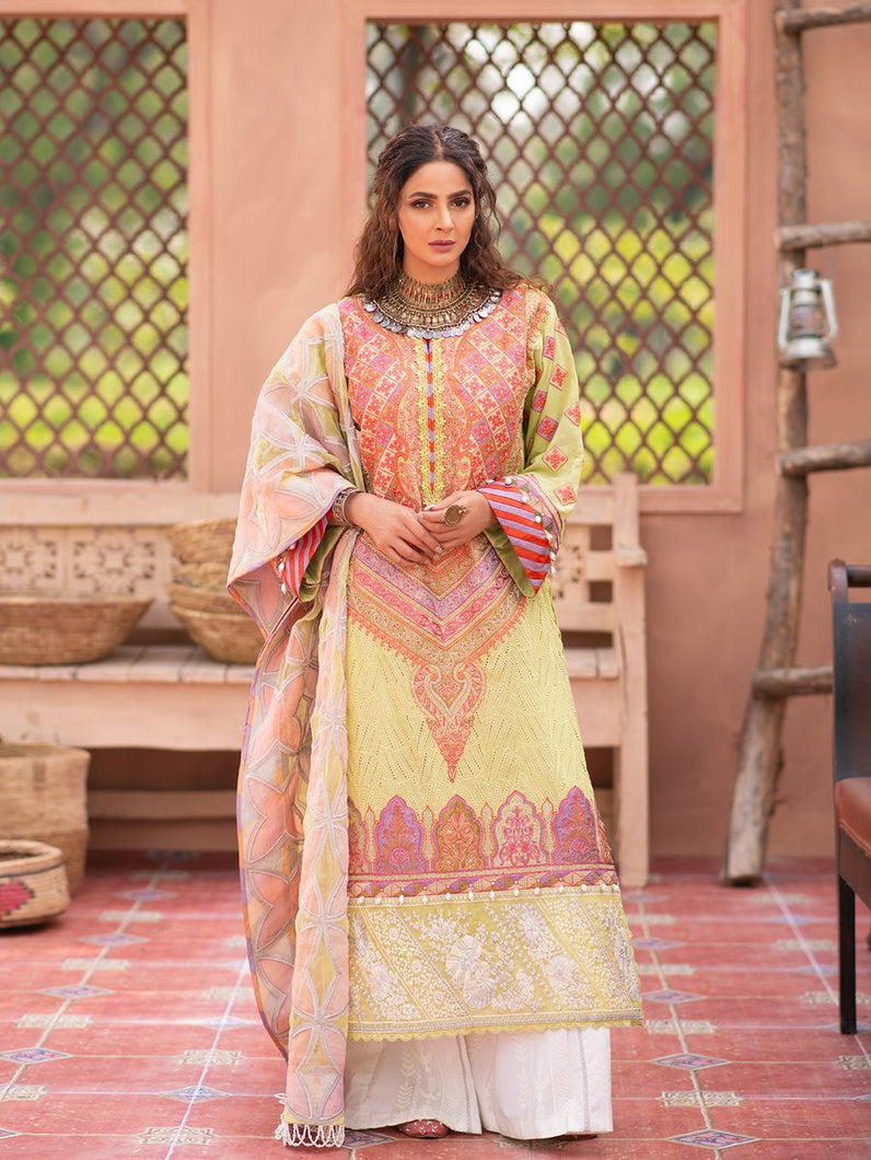 MARYAM HUSSAIN Luxury Lawn '21 Collection -MEENA Yellow dress most popular Pakistani outfits for evening wear and winter season in the UK, USA and France. These 3 pc unstitched, stitched & READY MADE Indian & Pakistani Suits are best for Eid outfits. Shop Salwar Kameez by Maryam Hussain on SALE price at Lebaasonline!