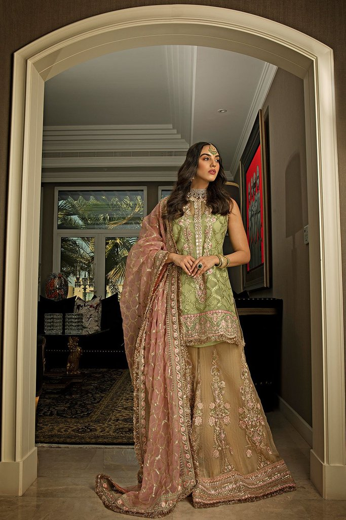 SOBIA NAZIR NUR NR-20/21-CN-05 festive collection 20/21 Sobia Nazir Nur Festive Collection 2020 is Pakistan's most diverse designer fashion brand with prêt porter, couture, lawn, embroidered net with net blouse fabrics. Buy Celebrating different styles of Pakistani Festive Collection 2020 in UK and USA at LebaasOnline.