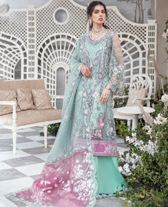 REPUBLIC WOMENSWEAR | Indian Pakistani Luxury Wedding Dresses Collection 2021-  La'brise LF49. Pakistani Formal Wear For Indian & Pakistani Women in the UK & USA. Exclusively designed Sharara style Gown with delicate embroidery on chiffon & silk fabric, matching dupatta is included. Available in Stitched and Unstitched