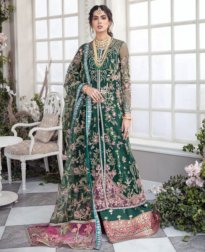 REPUBLIC WOMENSWEAR | Indian Pakistani Luxury Wedding Dresses Collection 2021 - Emerande LF51. Pakistani Formal Wear For Indian & Pakistani Women in the UK & USA. Exclusively designed Sharara style Gown with delicate embroidery on chiffon & silk fabric, matching dupatta is included. Available in Stitched and Unstitched