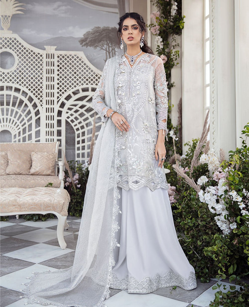 REPUBLIC WOMENSWEAR | Indian Pakistani Luxury Wedding Dresses Collection 2021 - Le Voile LF50. Pakistani Formal Wear For Indian & Pakistani Women in the UK & USA. Exclusively designed Sharara style Gown with delicate embroidery on chiffon & silk fabric, matching dupatta is included. Available in Stitched and Unstitched