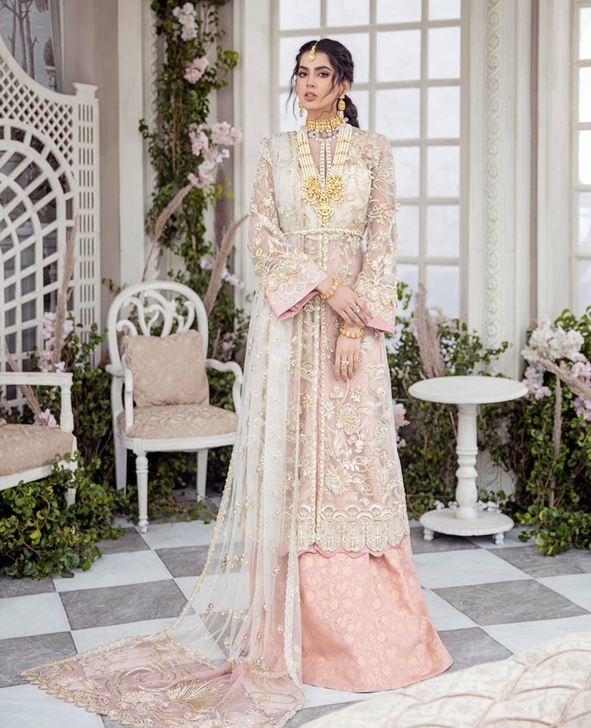 REPUBLIC WOMENSWEAR | Indian Pakistani Luxury Wedding Dresses Collection 2021-Du' soleil LF46. Pakistani Formal Wear For Indian & Pakistani Women in the UK & USA. Exclusively designed Sharara style Gown with delicate embroidery on chiffon & silk fabric, matching dupatta is included. Available in Stitched and Unstitched