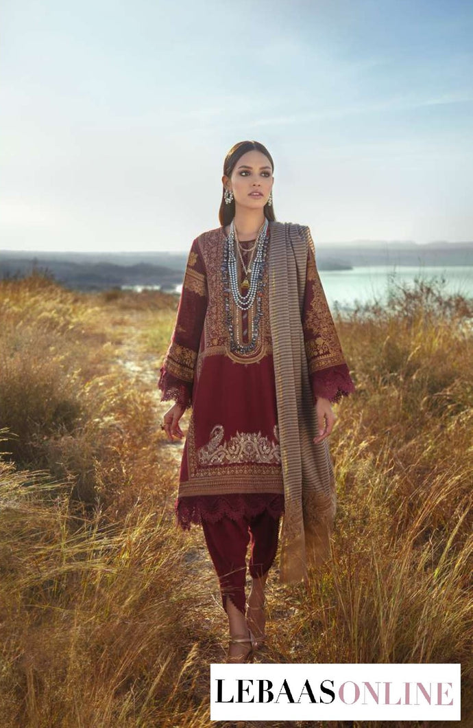 Sana Safinaz Winter Shawl '20 | Code: 6A :  Deep reds for shirt is comes to life is printed in delicate patterns inspired by Moroccan motifs and geometric designs. The shirt front is embroidered with intricate Moroccan motifs .Buy now SANA SAFINAZ | Muzlin Winter'20 | M203-014B-CPat great price from Lebaasonline.co.uk.