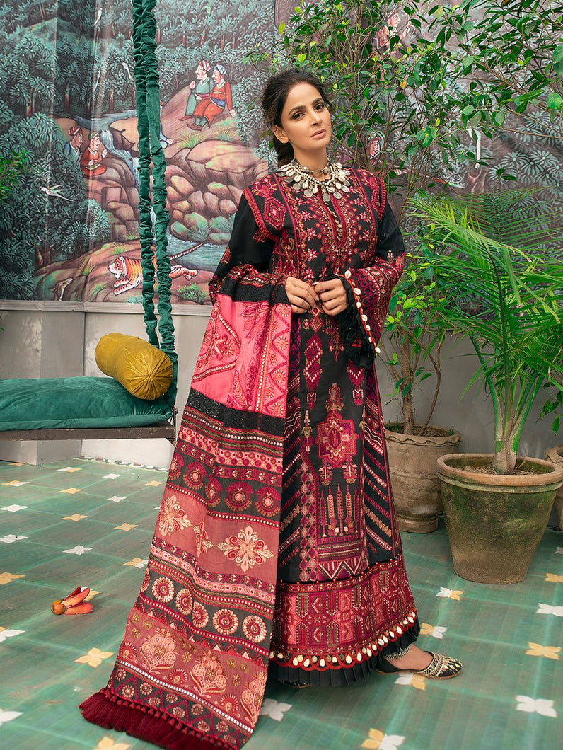 MARYAM HUSSAIN Luxury Lawn '21 Collection - VASAL Black dress most popular Pakistani outfits for evening wear and winter season in the UK, USA and France. These 3 pc unstitched, stitched & READY MADE Indian & Pakistani Suits are best for Eid outfits. Shop Salwar Kameez by Maryam Hussain on SALE price at Lebaasonline!