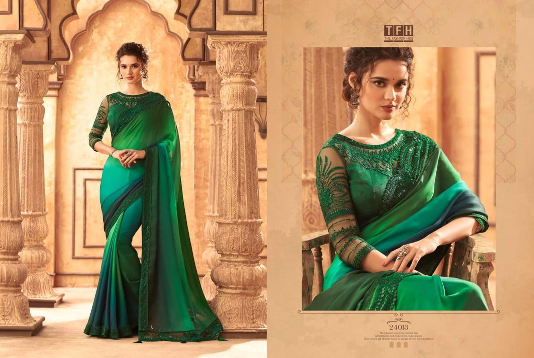 3A-2020-DESIGNER SAREE-Green
