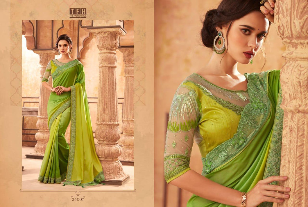3B-2020-DESIGNER SAREE-Yellow Green