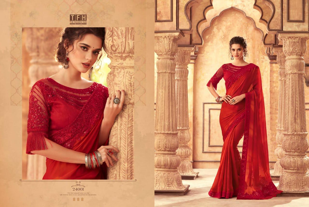 5B-2020-DESIGNER SAREE-Red