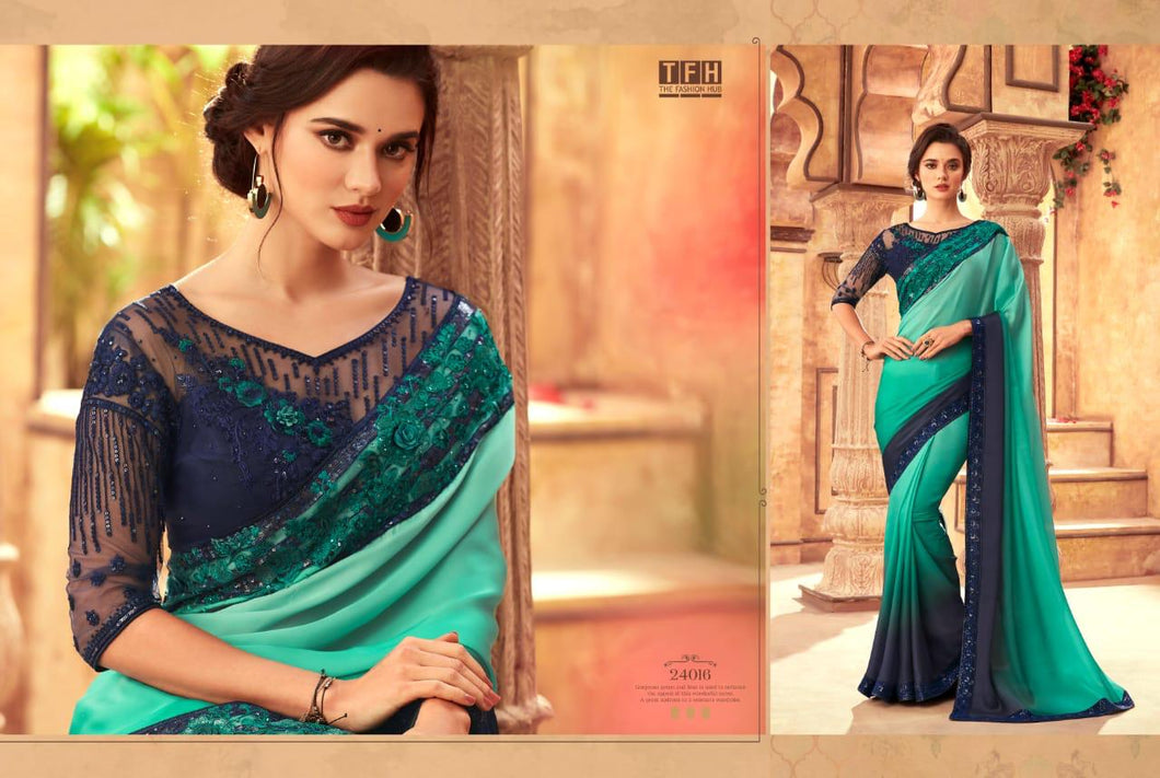 6B-2020-DESIGNER SAREE-Sea Green