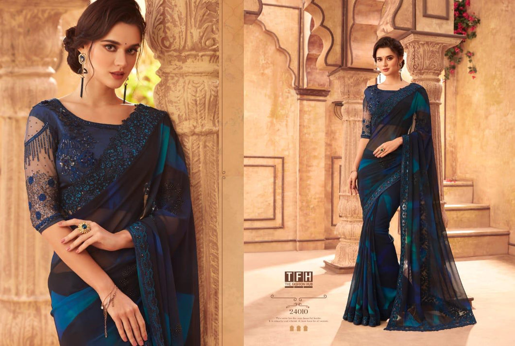 6A-2020-DESIGNER SAREE-Dark Blue