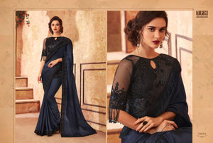 7B-2020-DESIGNER SAREE-Dark Blue