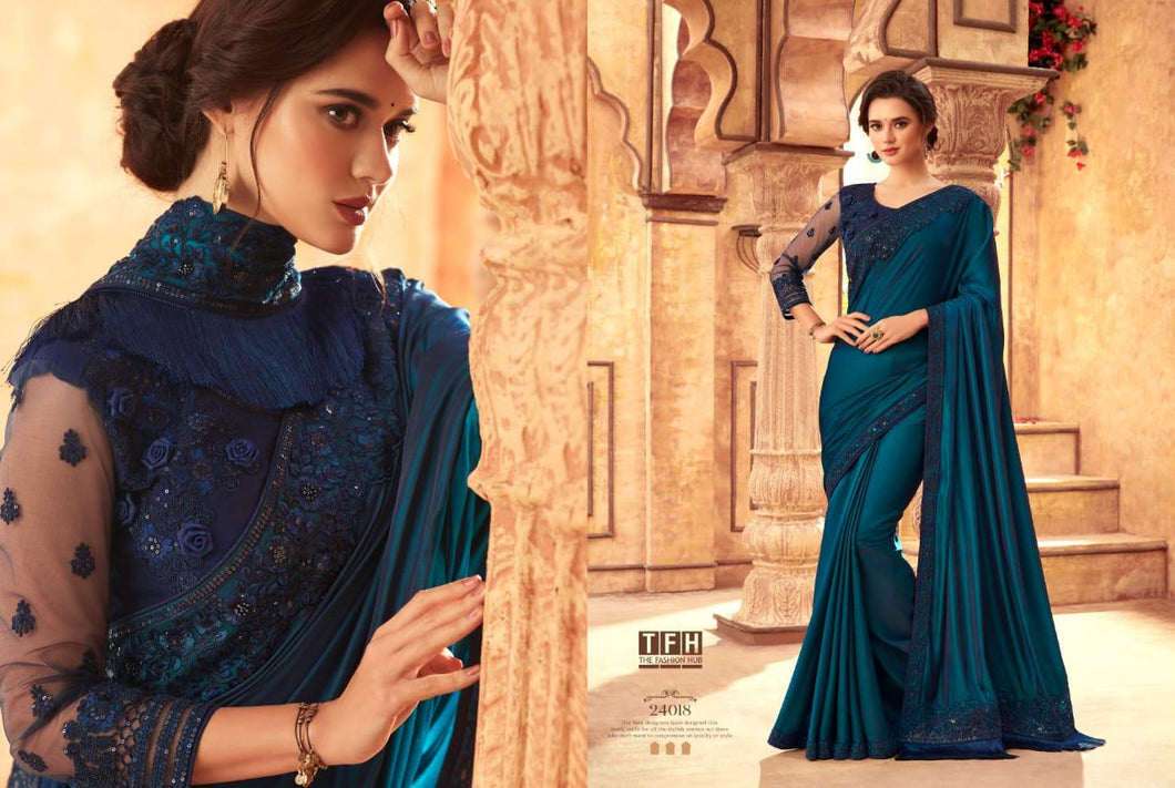 9A-2020-DESIGNER SAREE-Navy Blue