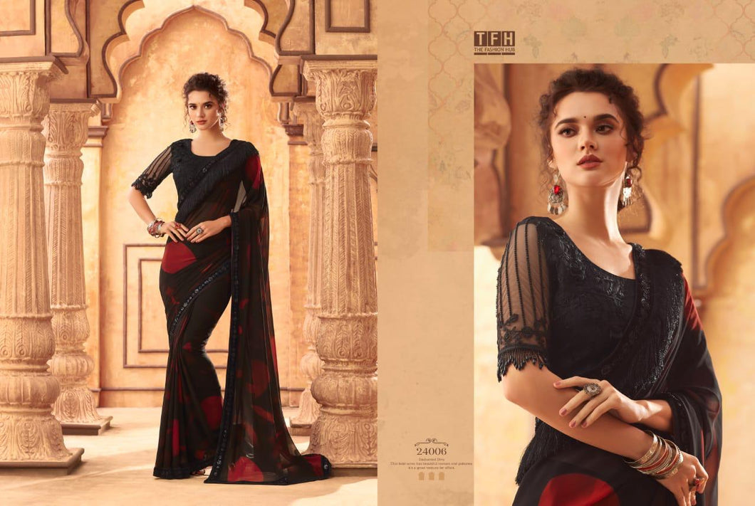 8A-2020-DESIGNER SAREE-Brown Black