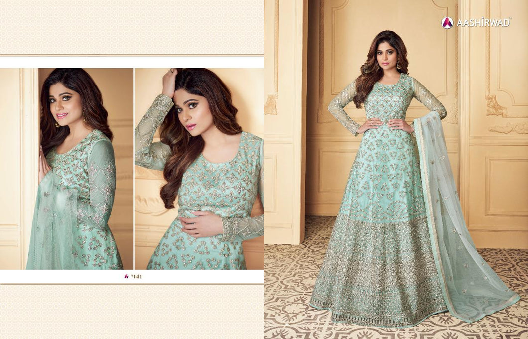 Blue Aashirwad Anarkali Suit - Shamita Shetty 7141