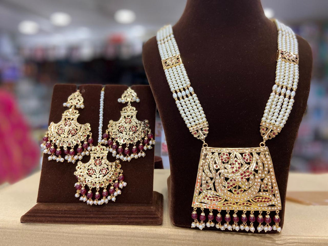 Indian Jewellery Bridal Jadau Sets Moti Pearl and Gold plated DS37 Pink