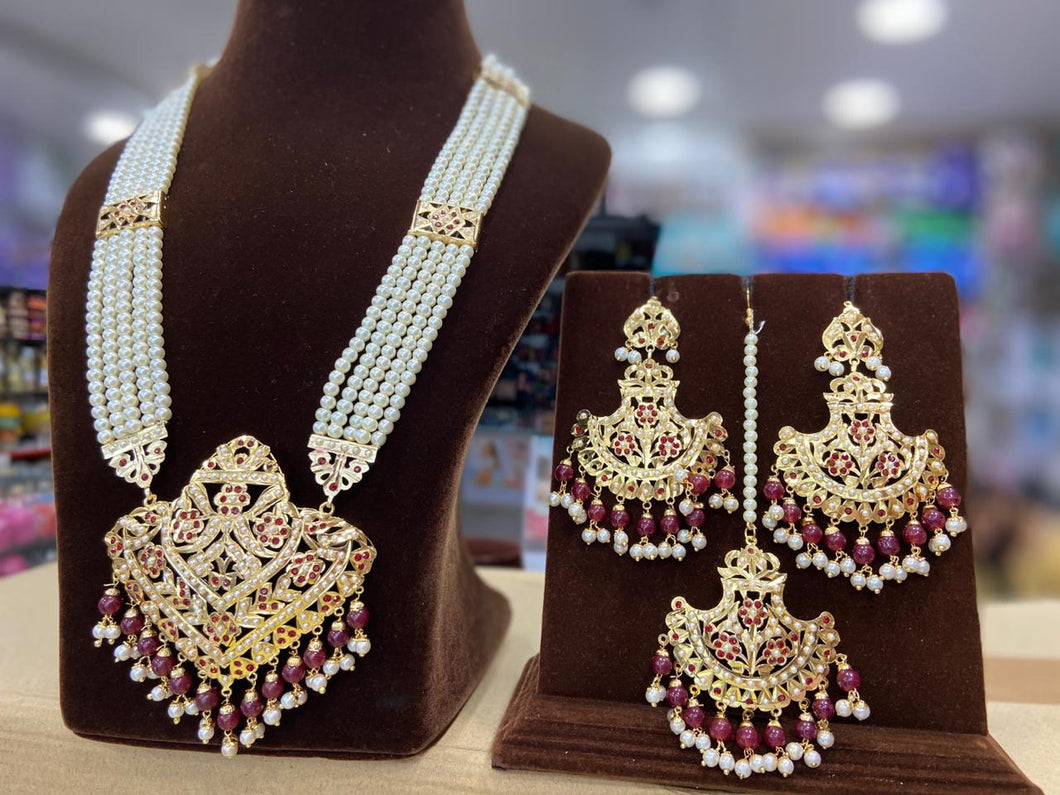 Indian Jewellery Bridal Jadau Sets Moti Pearl and Gold plated DS44 Pink