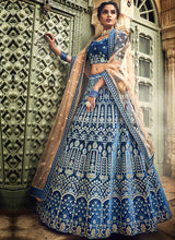 Load image into Gallery viewer, Blue and Beige Embroidered Lehenga