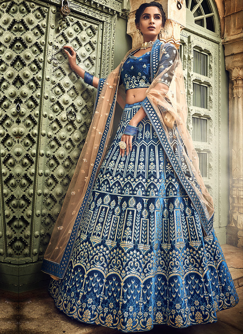 Blue and Beige Embroidered Lehenga