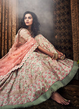 Load image into Gallery viewer, Pista Green and Pink Embroidered Lehenga