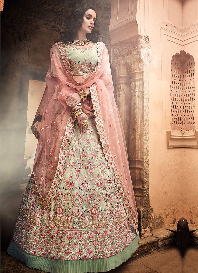 Pista Green and Pink Embroidered Lehenga