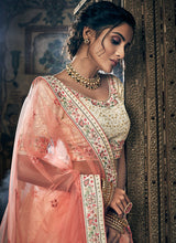 Load image into Gallery viewer, Offwhite and Peach Embroidered Lehenga