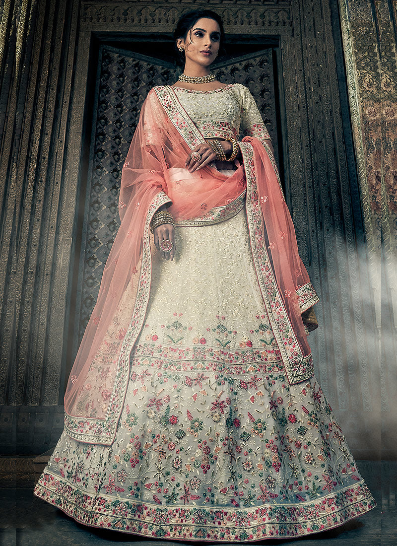 Offwhite and Peach Embroidered Lehenga