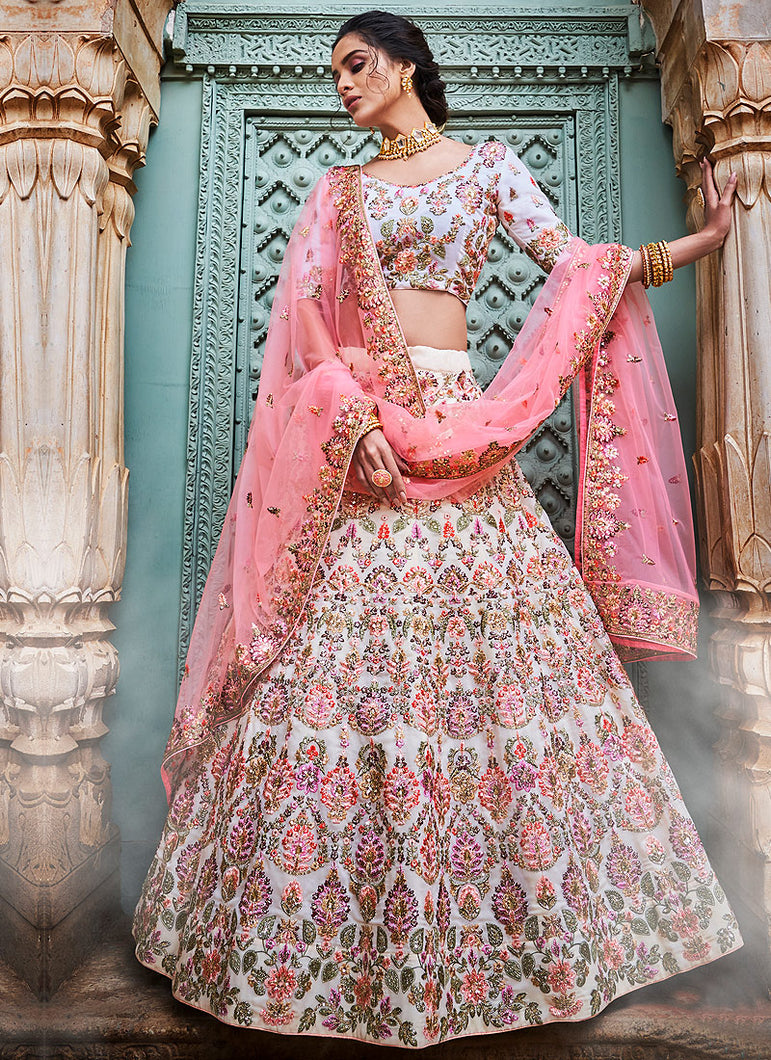 Offwhite and Pink Embroidered Lehenga