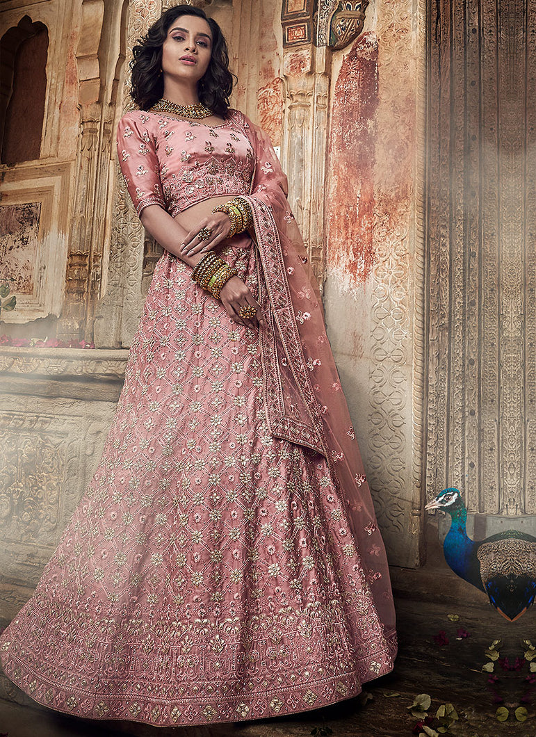 Salmon Pink Heavy Embroidered Lehenga