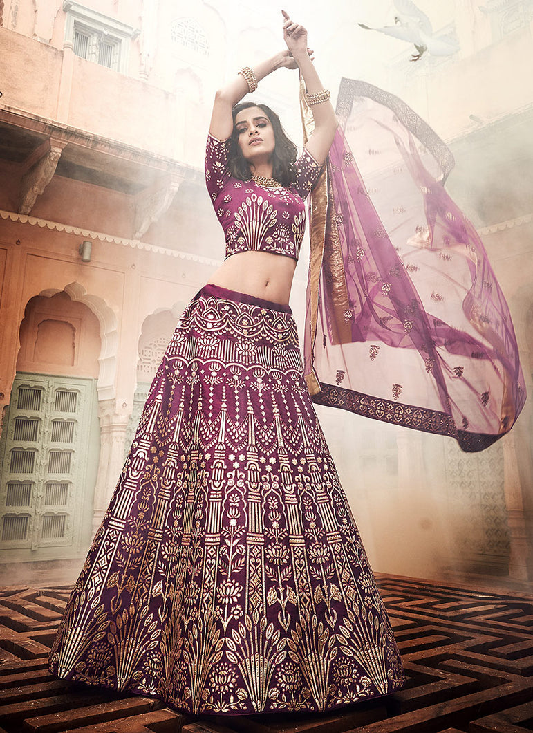 Wine Heavy Embroidered Lehenga