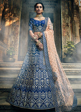 Load image into Gallery viewer, Navy Blue Heavy Embroidered Lehenga