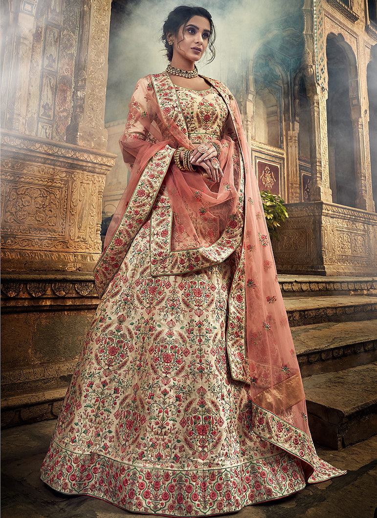 Jute White Heavy Embroidered Lehenga
