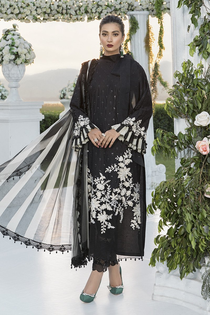Buy MARIA B SATEEN Black Pakistani Ready made, Stitched & unstitched 3 pc Suits Collection 2020 in the UK for Party & Wedding Festivities. Shop Now MARIA B SATEEN & Silk Off-White Indian Pakistani Dresses & Designer Wear for UK Asian Women Online at Best Price from LebaasOnline Boutique.
