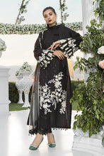 Load image into Gallery viewer, Buy MARIA B SATEEN Black Pakistani Ready made, Stitched & unstitched 3 pc Suits Collection 2020 in the UK for Party & Wedding Festivities. Shop Now MARIA B SATEEN & Silk Off-White Indian Pakistani Dresses & Designer Wear for UK Asian Women Online at Best Price from LebaasOnline Boutique.