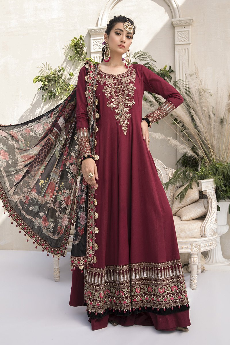 Buy MARIA B SATEEN Maroon Pakistani Ready made, Stitched & unstitched 3 pc Suits Collection 2020 in the UK for Party & Wedding Festivities. Shop Now MARIA B SATEEN & Silk Off-White Indian Pakistani Dresses & Designer Wear for UK Asian Women Online at Best Price from LebaasOnline Boutique