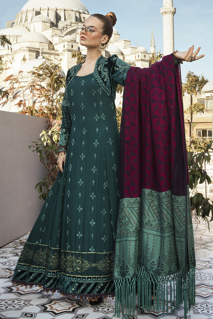 MARIA B | Linen Winter Collection DL-801-Sea Green. Buy Maria B Pakistani Dresses Online at Lebaasonline & Look good with our latest collection of Indian & Pakistani designer winter wedding clothes, Lawn, Linen, embroidered sateen & new fashion Asian wear in the UK. Shop PAKISTANI DESIGNER WEAR UK ONLINE 2020 SUITS.