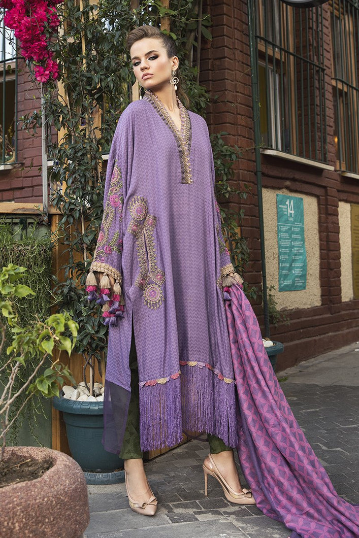 MARIA B | Linen Winter Collection DL-803-Lilac. Buy Maria B Pakistani Dresses Online at Lebaasonline & Look good with our latest collection of Indian & Pakistani designer winter wedding clothes, Lawn, Linen, embroidered sateen & new fashion Asian wear in the UK. Shop PAKISTANI DESIGNER WEAR UK ONLINE 2020 SUITS.