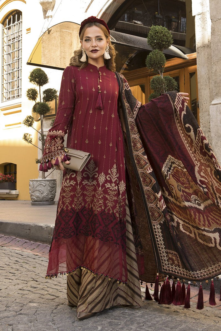 MARIA B | Linen Winter Collection DL-807-Maroon and Beige. Buy Maria B Pakistani Dresses Online at Lebaasonline & Look good with our latest collection of Indian & Pakistani designer winter wedding clothes, Lawn, Linen, embroidered sateen & new fashion Asian wear in the UK. Shop PAKISTANI DESIGNER WEAR UK ONLINE 2020 SUITS.